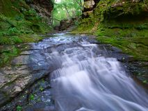 Pewits Nest - Wisconsin Dells. A slot canyon running through Pewit's Nest State Natural Area near the Wisconsin Dells stock photography