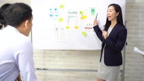 Pewna azjatycka bizneswoman prezentuje współpracowników zbiory wideo