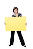 pewna kobieta znak gospodarstwa Zdjęcie Royalty Free
