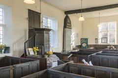 Pews κιβωτίων και pulpit, ενωτικό παρεκκλησι, Rivington Στοκ Φωτογραφίες