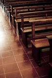 Pews. In an old Catholic church in the Yucatan, Mexico stock photo
