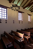 Pews in interior of chapel Stock Image