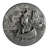 Pewter bas-relief. The Song of the Nibelungs isolated on a white background Royalty Free Stock Photography