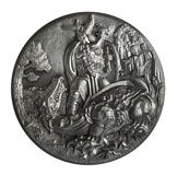 Pewter bas-relief. The Song of the Nibelungs isolated on a white background Royalty Free Stock Images