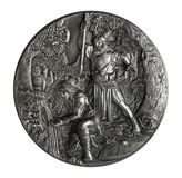 Pewter bas-relief. The Song of the Nibelungs isolated on a white background Royalty Free Stock Photos