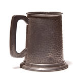 Pewter beer tankard. Isolated on white background Royalty Free Stock Images