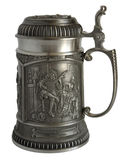 Pewter beer tankard with bas-relief Royalty Free Stock Photos