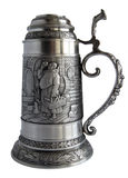 Pewter beer tankard with bas-relief Royalty Free Stock Images