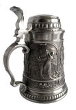 Pewter beer tankard with bas-relief Royalty Free Stock Photo