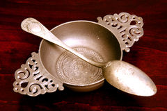 Pewter Bowl & Spoon Royalty Free Stock Photography