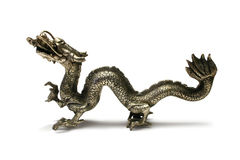 Pewter Dragon. Pewter Chinese Dragon isolated on white stock photography