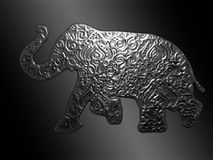 Elephant Embossed on a Pewter Sheet royalty free stock photos