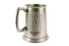 Pewter old tankard on white Stock Images