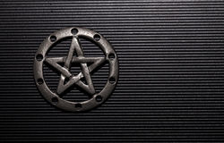 Pewter Pentacle. On black background Royalty Free Stock Photo
