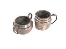 Pewter sugar bowl and milk jug Stock Photography