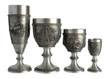 Pewter wine goblets Royalty Free Stock Photo