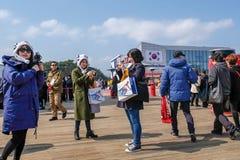 Peyongchang 2018 mars 11th Paralympic lekar i Sydkorea - nolla Royaltyfria Bilder