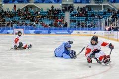 Peyongchang 2018 11th mars Paralympic lekar i Sydkorea - S Royaltyfria Foton