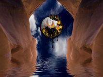 Peyote Vision. Burning clock in cave hangs suspended Royalty Free Stock Image