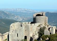Peyrepertuse: Κάστρο Cathare τοπίων Στοκ Εικόνα