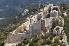Peyrepertuse Castle aerial view Royalty Free Stock Image