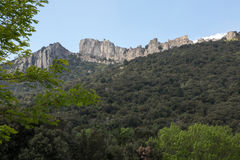 Peyrepertuse castle in  French Pyrenees Stock Photography