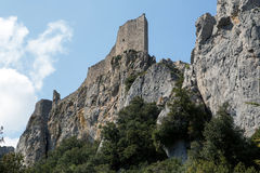 Peyrepertuse castle in  French Pyrenees Royalty Free Stock Images