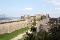 Peyrepertuse castle in  French Pyrenees Royalty Free Stock Photos