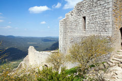 Peyrepertuse castle in  French Pyrenees Stock Image