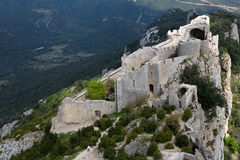 Peyrepertuse castle in  French Pyrenees Royalty Free Stock Photography