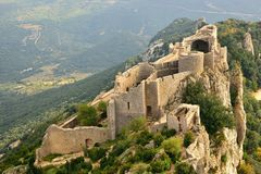 Peyrepertuse cathar castle seen from above Stock Photo