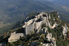 Ruins of the mystical Cathar fortress Peyrepertuse stock image