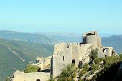 Peyrepertuse: Landscape Cathare castle Stock Photo