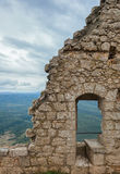 Peyrepertuse medieval Cathar castle. The medieval Cathar castle Peyrepertuse .Languedoc, France. Summer royalty free stock photography