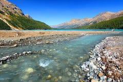Peyto Jezioro Woda glacjalny Przepływ Obrazy Royalty Free