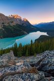 Peyto Lake in Banff National Park, Alberta at sunrise stock photo