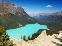 Canada, Peyto Lake, Banff National Park, Canadian Rockies. Beautiful Peyto Lake and mountains in the Canadian Rockies. Banff National Park, Canada royalty free stock image