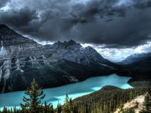 Peyto lake in Canada. With a storm approaching Royalty Free Stock Photography