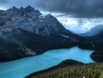 Peyto lake in Canada. With a storm approaching Royalty Free Stock Photo
