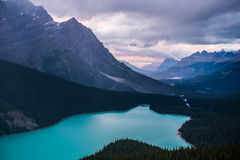 Peyto Lake during an overcast sunset Royalty Free Stock Photography