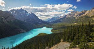 Peyto Lake. The sun sets over Peyto Lake and the Icefields Parkway in Banff National Park, Alberta Stock Photo