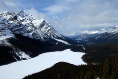Peyto sjö i vinter, kanadensiska steniga berg, Kanada Fotografering för Bildbyråer