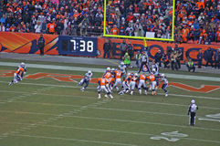 Peyton manning leads the way. Peyton manning sets the broncos up for a score royalty free stock photo