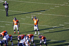 Peyton Manning Raising the roof. Peyton manning of the Denver Broncos raising both hand to quite the crowd stock images