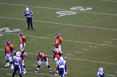 Peyton manning ready. Peyton manning barks out orders to the offense stock photos