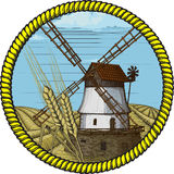 Peyzazhe_mil_round(7). Label windmill drawn in a woodcut like method vector illustration