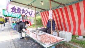 Pez de colores que saca con pala en Japón imagenes de archivo