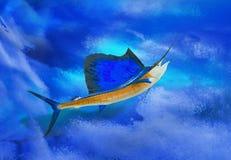 Pez volador con el contexto del océano Imagen de archivo libre de regalías