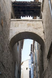 Pezenas (France). Pezenas (Herault, Languedoc-Roussillon, France), medieval city: old alley stock photo