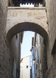 Pezenas (France). Pezenas (Herault, Languedoc-Roussillon, France), medieval city: old alley stock photos